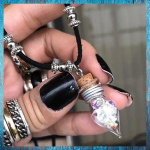 Swarovski crystals bottle fairy dust necklace